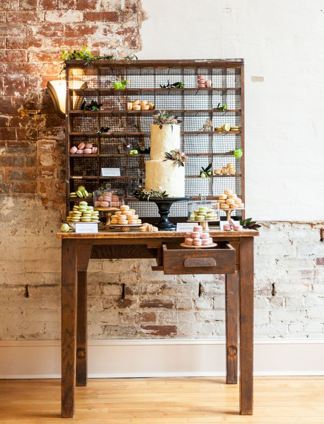 Rustic + Modern Wedding Inspiration - Possibly add cupcakes or other cakes in windows behind and on table - Include banana pudding, chocolate chip cookies, carrot cake