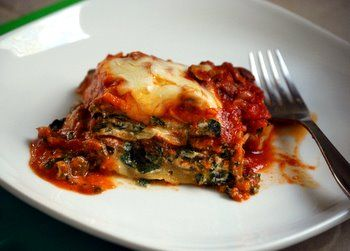 Beef, Spinach and Mushroom Lasagna - a significantly healthier spin on traditional lasagna - I will be using kangaroo mince for an even leaner option - Shhhhh don't tell my family!