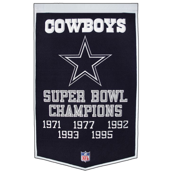 "This beautifully embroidered 24"" x 38"" ""Dynasty"" banner commemorates the Super Bowls and NFL Championships won by the Dallas Cowboys. This unique banner design celebrates the team's dynasty."
