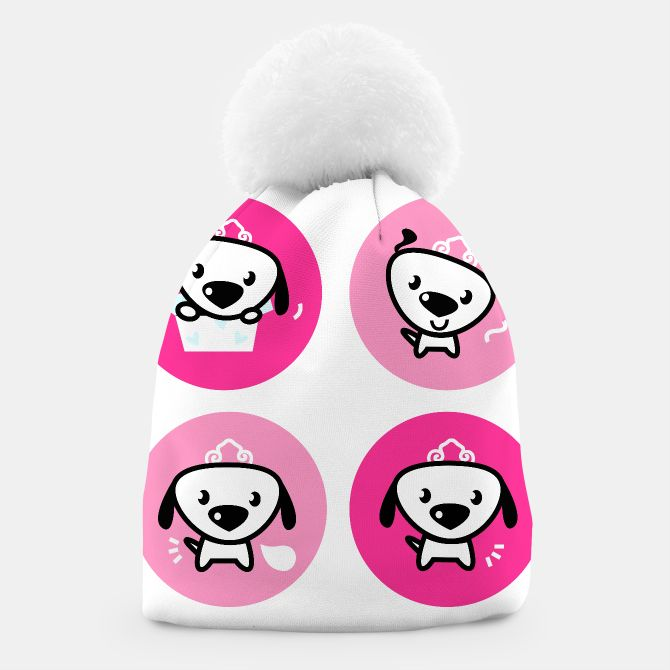Beanie with little cute Dogs : Pink and white