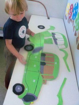 auto terug in elkaar steken + meer leuke ideeën voor het thema verkeer.
