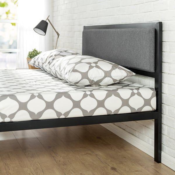 Priage By Zinus Black Steel Platform Bed Frame With Grey