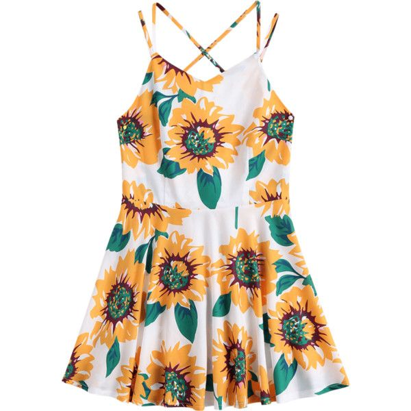Sunflower Print Open Back Cami Sundress ($16) ❤ liked on Polyvore featuring dresses, sun flower dress, sunflower dress, summer dresses, open back dresses and yellow cami