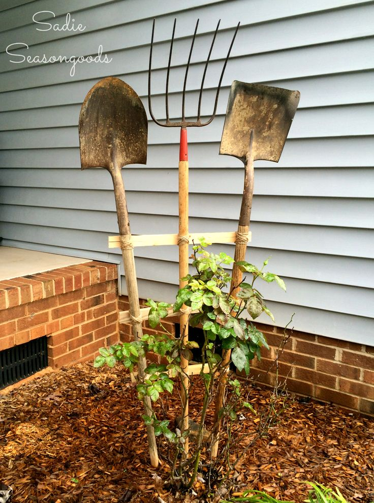 DIY repurpose upcycle garden trellis made from vintage antique yard and farm tools by Sadie Seasongoods