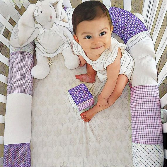 Snake pillow - Purple&White, Long Roll pillow, Candy pillow, 100% Cotton pillow, Baby bed bumper, Nursery decoration, crib bumper, bed sheets.  Hand Made. Made to order. High Quality. Free Shipping Worldwide.  Bed bumpers are large, long pillows, that protect the baby in the crib, define a safe playing zone, can be used as a developmental object and of course, makes a fabulous, soft toy for hours of play for babies, toddlers and children. Lovely birthday and baby shower gift!   Colors: •…