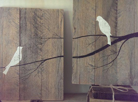 aves de arte de pared de la plataforma por TailorMadeCrafts en Etsy