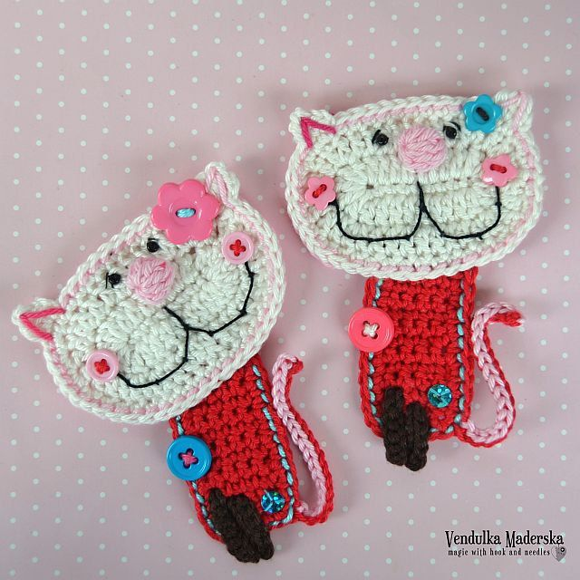 Crochet kitty appliqué pattern DIY от VendulkaM на Etsy