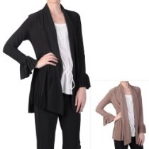 Brinley Co Womens Pleated Trim Long Sleeve Jacket