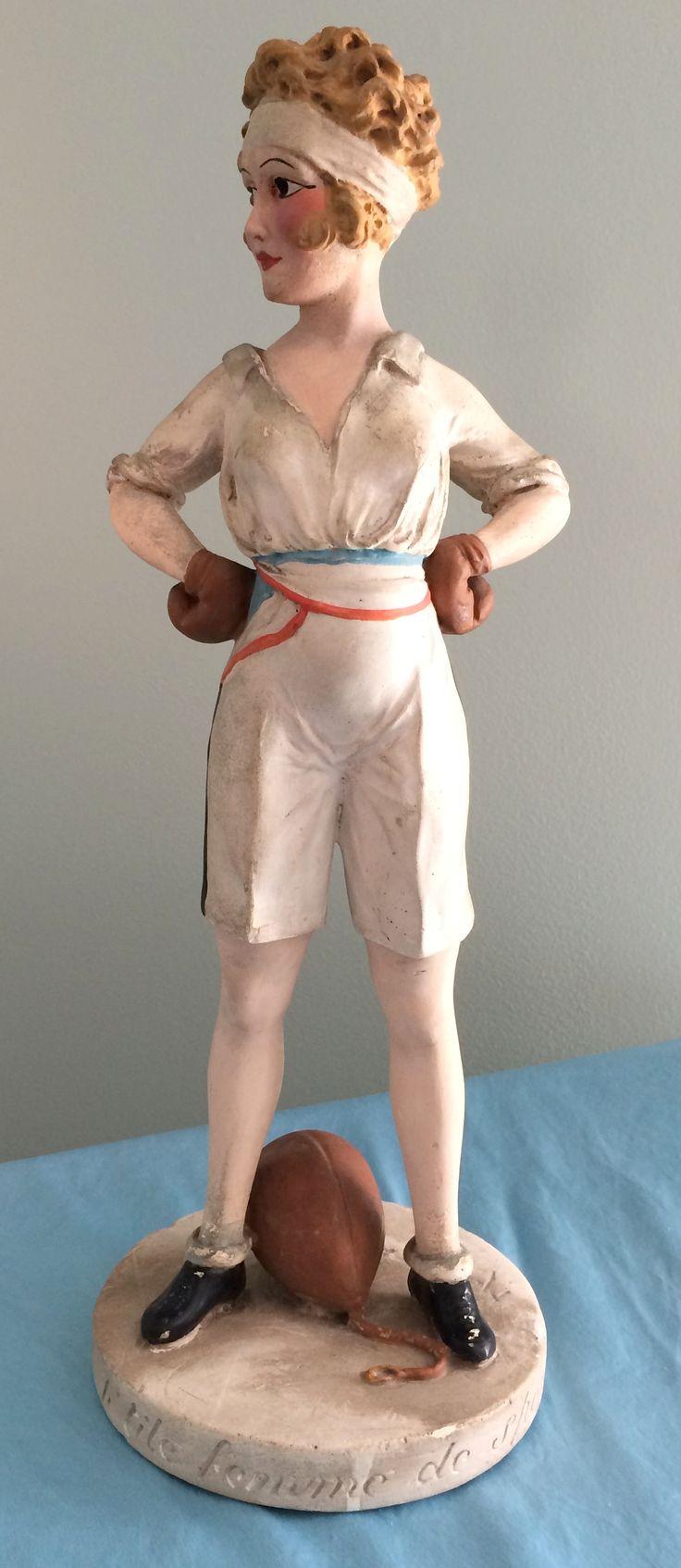 1000 images about chalkware on pinterest carnival prizes vintage - Painted Plaster Statuette Titled La Petite Femme De Sport Boxeuse