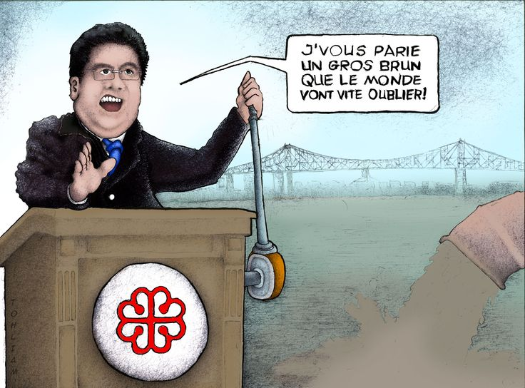Caricature of Montreal mayor Denis Coderre created by Eric Mailhot during November 2015 and finalized on November 17th 2015. The drawing was made with ballpoint pen and pencil. Colors added in photoshop. This french caricature is a social commentary about events which unfolded early November of 2015. Public outcry due to Montreal's project to dump raw sewage into the already oddly-coloured and strangely stinky St-Lawrence river. Drawing is signed Tohliam.  Please visit www.ericzone.com