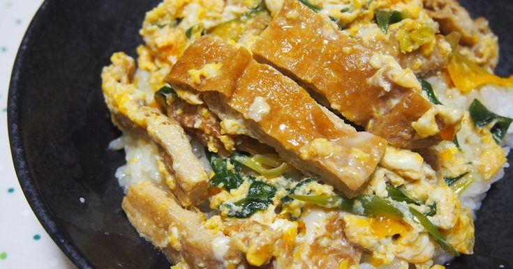 油揚げと卵で、立派な丼ができますよ♪京都名物・衣笠丼♪ 卵ふわふわ・油揚げからお出汁がジュワ~と溢れます!