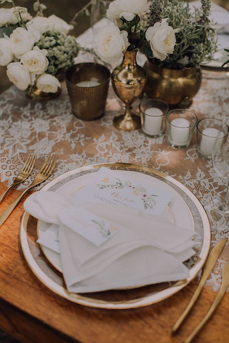 Andrew & Jill's Relaxed Outdoor Wedding at Hawksmoor House Wedding Venue – Stellenbosch  Their tables were adorned with gold accents, white flowers, gold cutlery and vintage lace runners.
