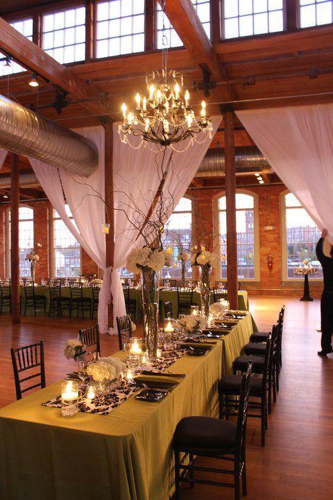 I love lofts. I could definitely envision having a wedding reception like this. Urban Loft Wedding - The Cotton Room #wedding #loft