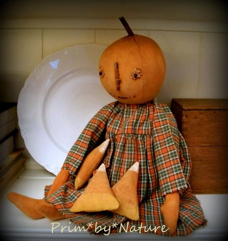 Primitive Pumpkin Doll with Candy Corn Autumn Fall Folk Art Doll