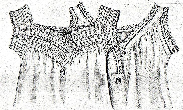 Chemises with crochet and fabric yokes from Budapesti Bazár 1885