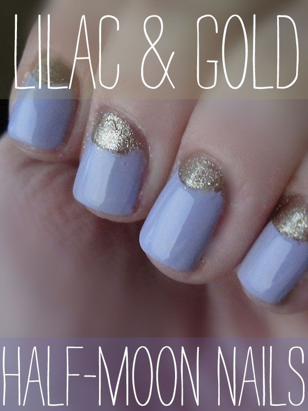 Lilac/Gold: Halfmoon, Colors Combos, Nails Art, Gold Nails, Summer Nails, Nails Ideas, Moon Nails, Nails Polish, Half Moon