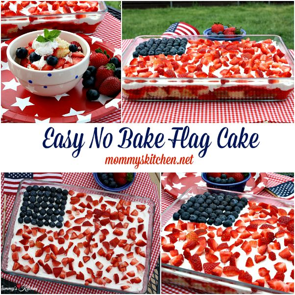 Easy No Bake Flag Cake {Memorial Day Dessert} A quick and easy no bake flag cake celebrating red, white and blue. Everyone will love this no fuss patriotic dessert. #wmtmoms #memorialday #dessert #nobake. #cookout #holiday