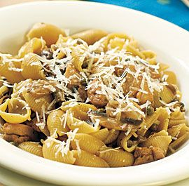 Pasta+Shells+with+Chicken,+Mushrooms++Capers  One of Jenna's favorites