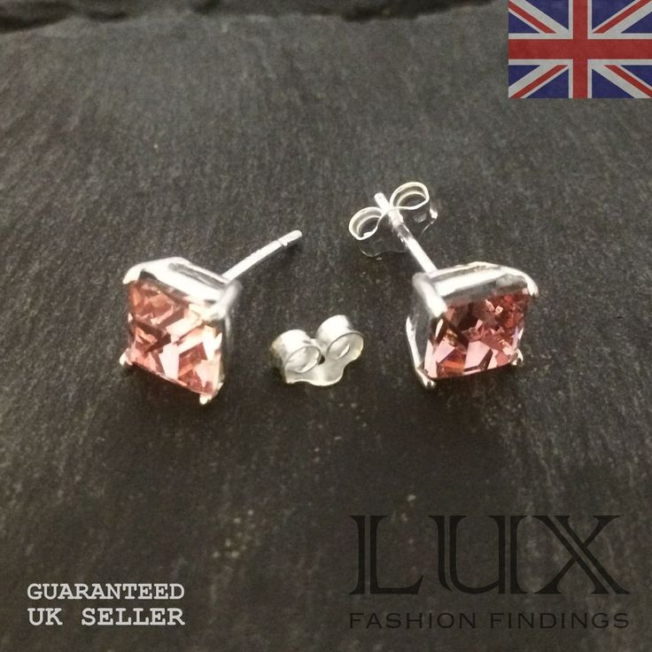 925 Sterling Silver Pair Of Square Pink Cz Earstuds With Erfly Uk Er