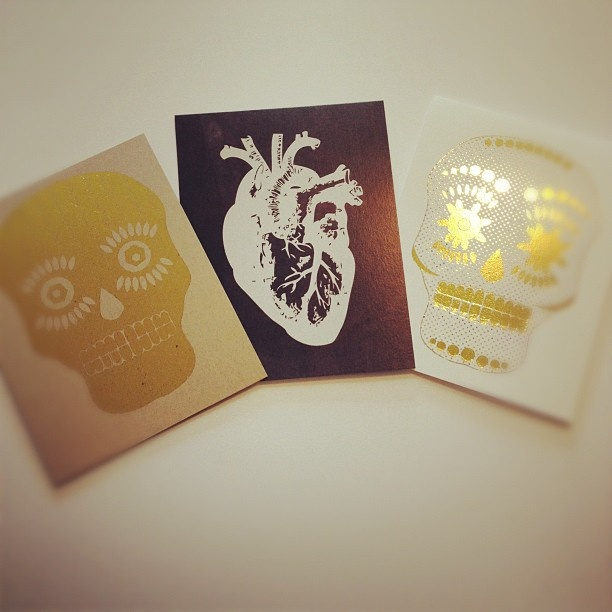 Halloween Greeting Cards. Gold Foil Greeting Cards. Day of the Dead. Heart