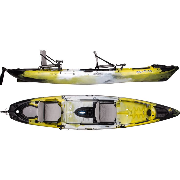 Jackson Kayak Big Tuna Kayak with Rudder – On Sale - Sit-On-Top - Jackson Kayak Sit On Top Big Tuna Kayak with Rudder gives you the power to paddle your partner or pal around for a ride out on the lake. Long and wide,With the highest weight limit in the Jackson Kayak family, this kayak handles your camping gear, fishing gear, and a fishing friend (and the fish too). #fishing #kayak #anglerkayak #fishingkayak