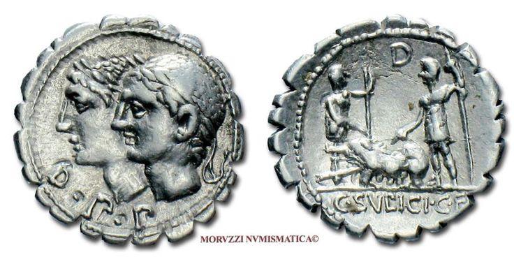 Ancient Coins - GENS SULPICIA C. Sulpicius C. f. Galba SILVER DENARIUS SERRATUS 106 BC Roman coin for sale