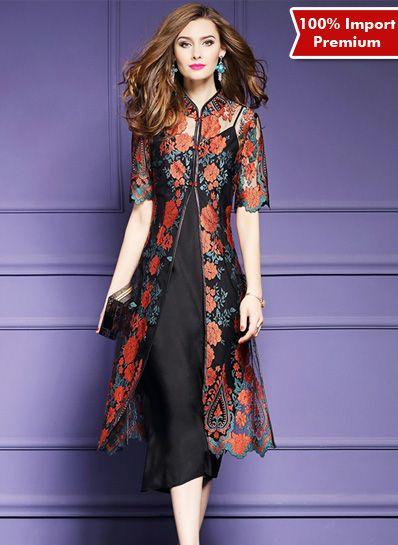 Dress / Baju Cheongsam Brukat Import Premium 2 Pcs 611PR | shopasista.com | Distributor baju import | distributor baju korea | grosir baju korea | grosir baju import | supplier baju korea tangan pertama | importir baju korea
