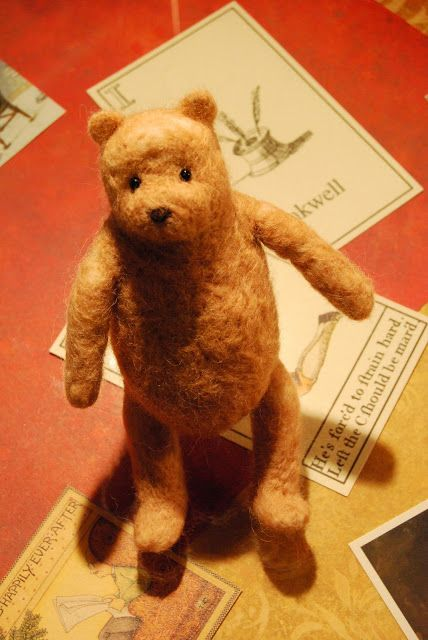 """VIDEO TUTORIAL:  NEEDLE FELTING """"POOH BEAR"""" [PART 1 of 7] by BETH STONE STUDIO -- January 21, 2011 -- [5.35 minutes] -- [TO VIEW:  Press PLAY button once Beth's Studio internet page opens.]    [V/T; V/c]"""