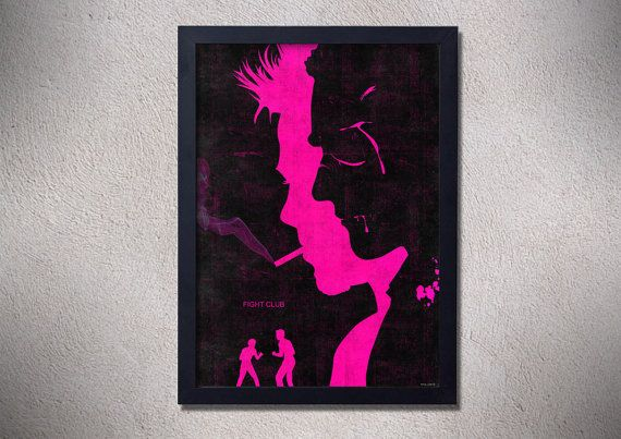Fight club poster print brad pitt art movie poster by TotalLost