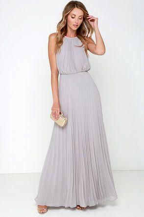 Bariano Melissa Light Grey Maxi Dress
