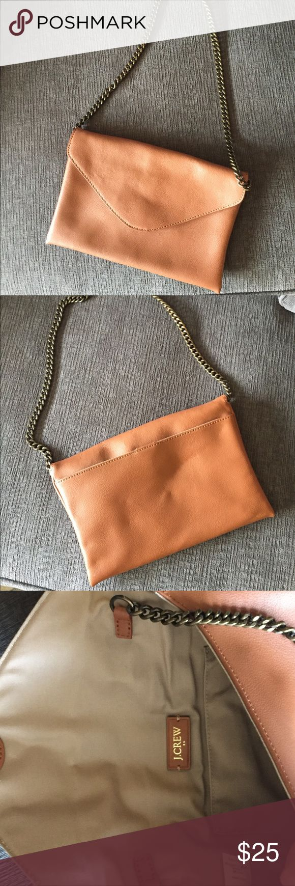 J Crew Factory camel clutch Brand new, never worn. Easy camel clutch that you can throw on your shoulder. Big enough to fit wallet and other items. 7 inches length, 10 inches width. Straps are not removable. J. Crew Factory Bags Clutches & Wristlets