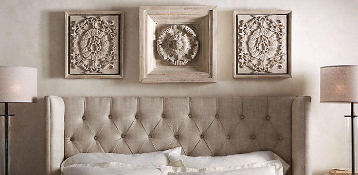 Wood Wall Carvings Restoration Hardware Above Bed In Master Bedroom Bedroom Pinterest