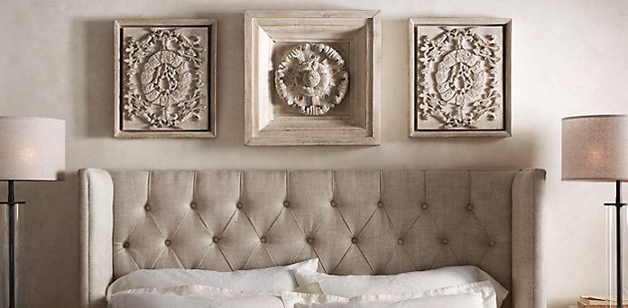 Wood Wall Carvings Restoration Hardware Above Bed In
