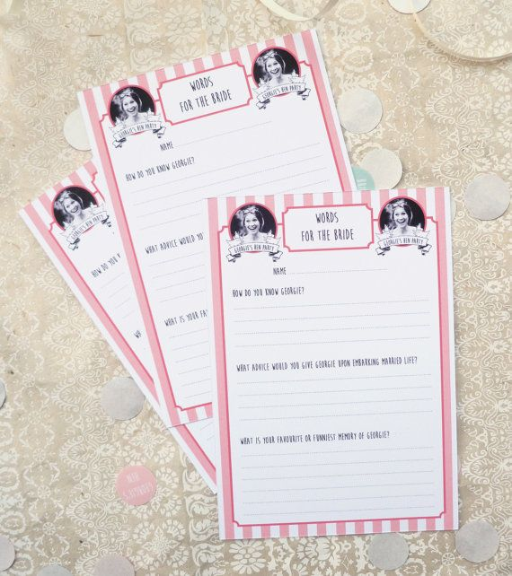 Personalised Words For The Bride Cards Hen Party Activity 10 Per Pack