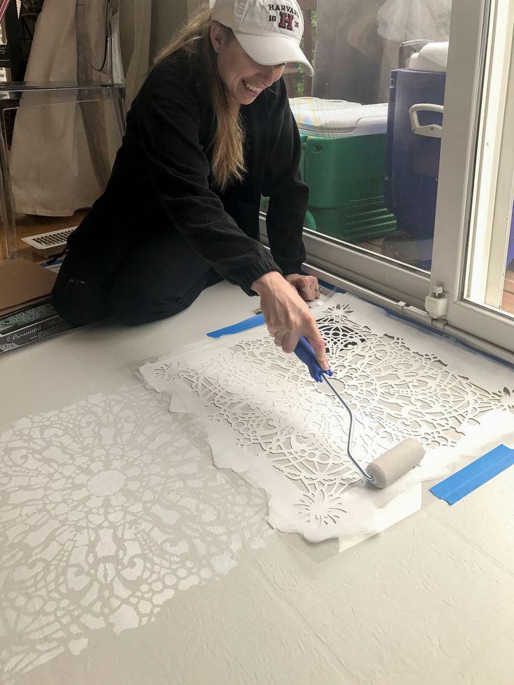 Stenciling a linoleum kitchen floor using the Stephanie's Lace Allover Stencil from Cutting Edge Stencils. http://www.cuttingedgestencils.com/lace-stencil-wall-decor-stencils.html