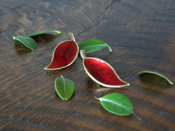 David-Andersen Norway Red Enamel Leaf Earrings - Vintage Norwegian Enameled Sterling Silver Clip On Earrings - Willy Winnaess Design by EightMileVintage on Etsy