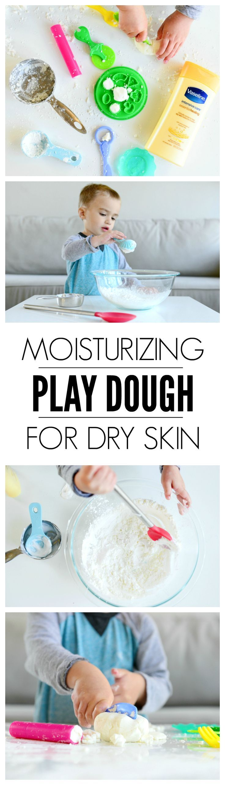 FUN for the kids AND like a mini spa treatment for your hands! This play doh recipe for dry skin is PERFECT!    Moisturizing Play Dough | Moisturizing Play Doh for Dry Skin | Play Doh recipe for dry skin from Hello Splendid vaselinepartner #AD Vaseline Essential Healing Lotion leaves my family's skin deeply moisturized.