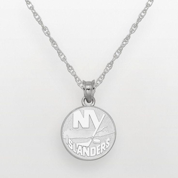 """LogoArt New York Islanders Sterling Silver Logo Pendant, Women's, Size: 18"""", Grey"""