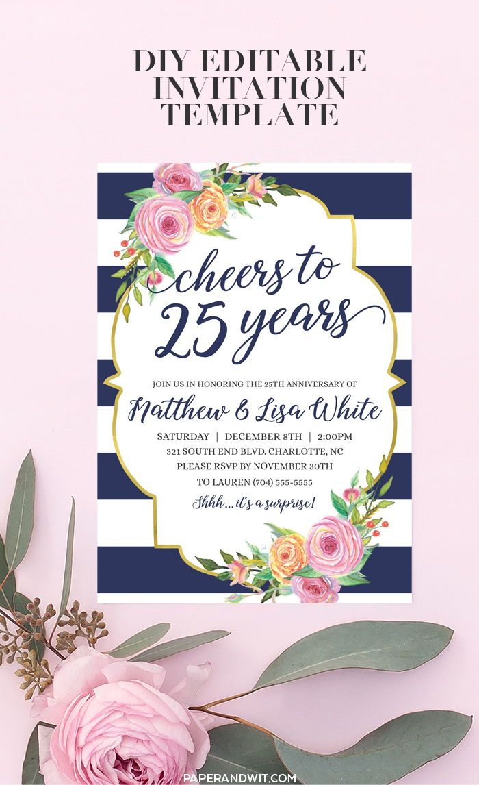 25th Anniversary Invitations 25th Anniversary Party Invitation Etsy 40th Birthday Invitations Surprise Birthday Invitations Anniversary Party Invitations
