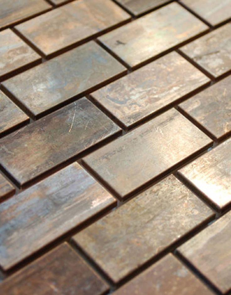 Love It Medium Brick Antique Copper Mosaic Tile Traditional Kitchen Eden