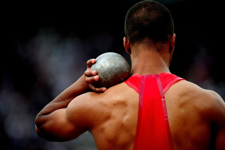 Ashton Eaton of the United States readies for a shot put throw in the Men's Decathlon in the Olympic Stadium, on August 8, 2012 in London.
