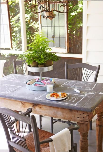 An old pine table anchors this screen porch. A painted chalkboard top encourages…