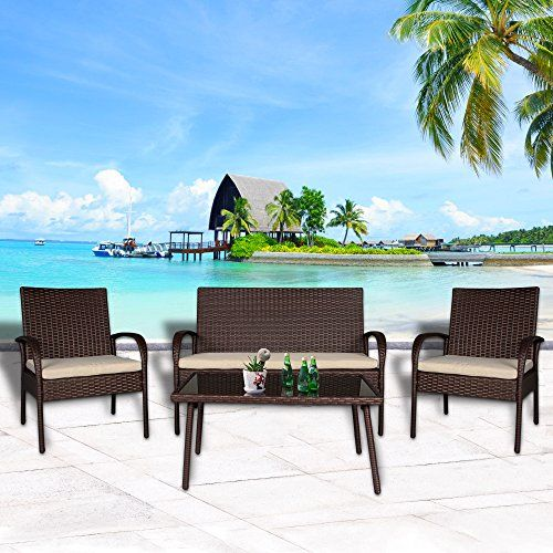 Cloud Mountain 4 PC Patio Rattan Furniture Set Wicker Rattan Conversation Sectional Sofa Glass Top Table Loveseat Outdoor Lawn Sectional , Brown Rattan with Creamy White Cushions.