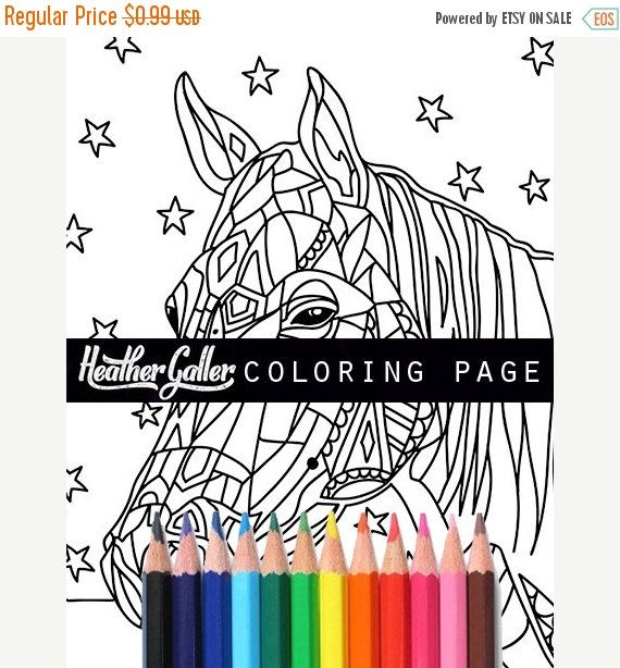 Horse Coloring Animal Art Adult Pages By Heather Galler