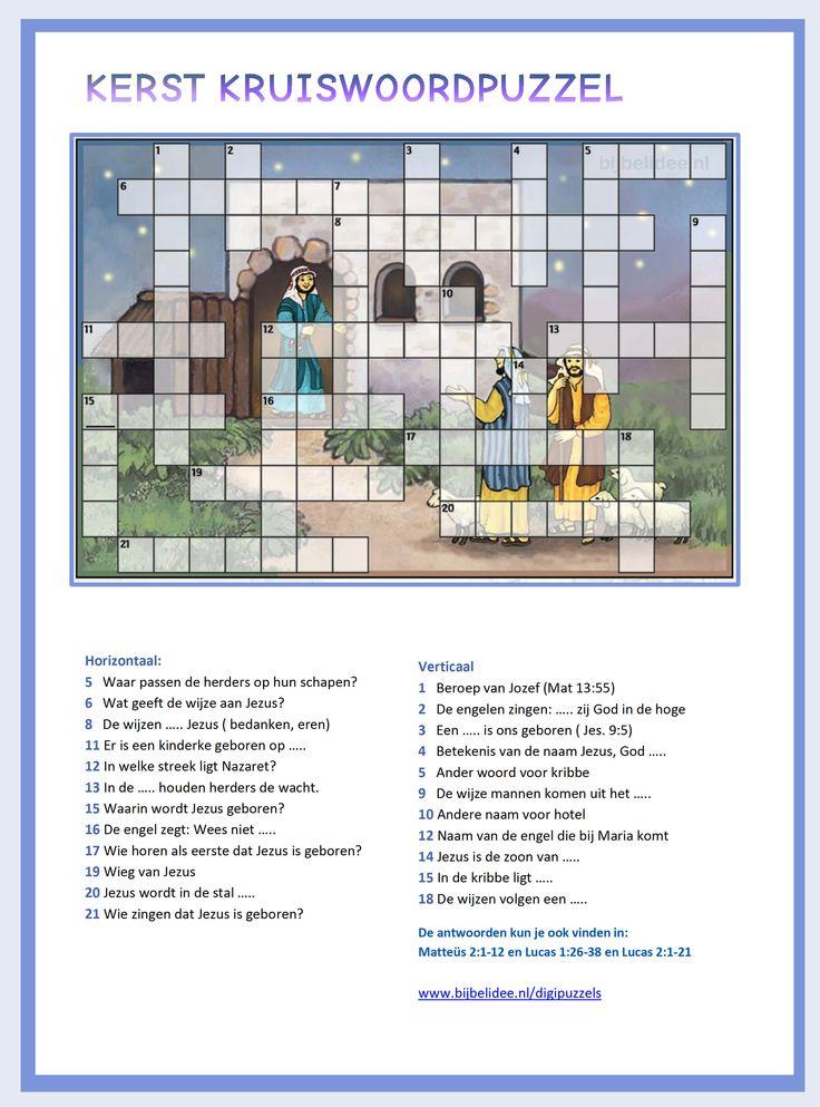 KERST kruiswoordpuzzel met de herders bij de stal. Meer puzzels vind je op www.bijbelidee.nl