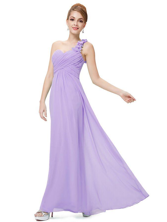 Ever-Pretty One Shoulder Cocktail Gowns Lavender Bridesmaid Dresses Long 09768