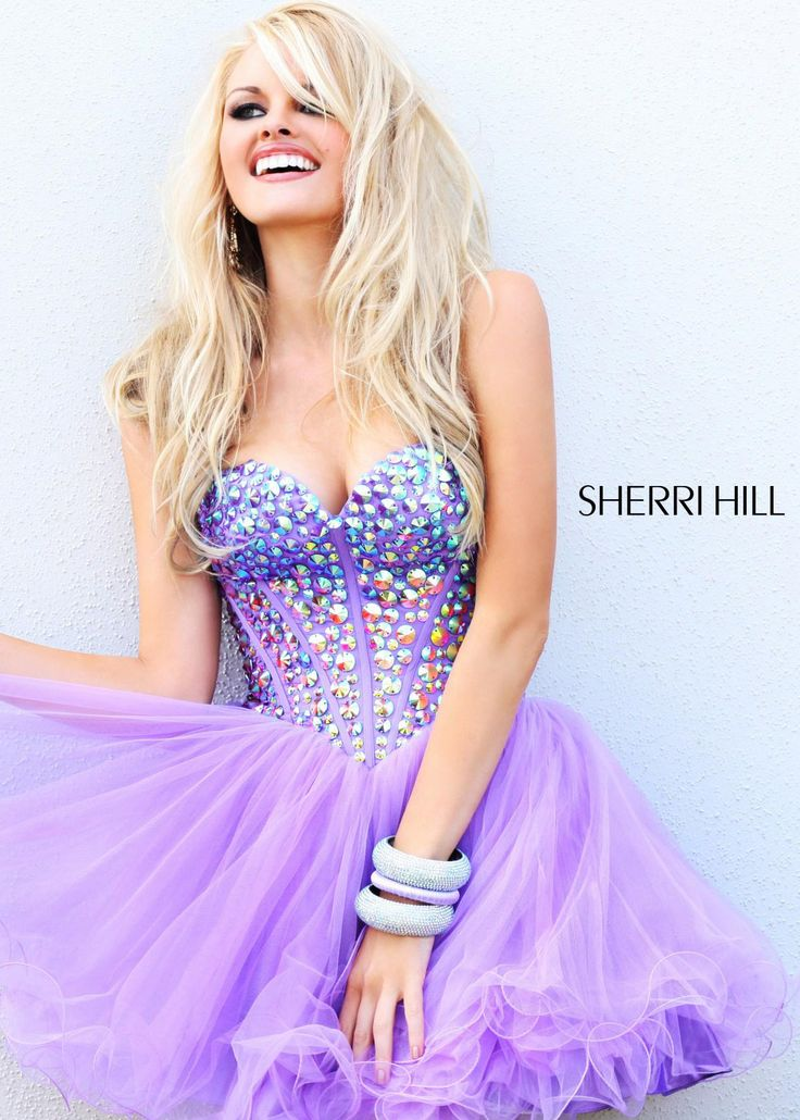 Lilac Short Prom Dress with a Jeweled Bodice and Sweetheart Neckline - Sherri Hill 21101 -