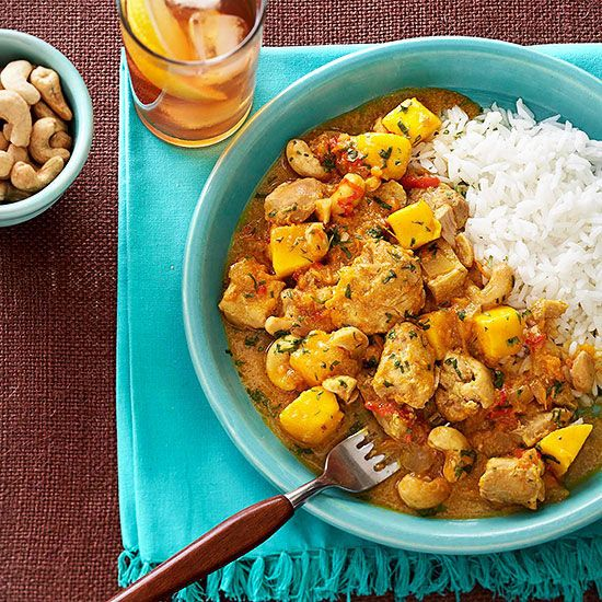 Chicken-Mango Curry: i served it over rice. I like the flavors of this dish, especially the cinnamon and mangos. It became a little too mushy, though. If I make it again, I will steam some sweet potato chunks separately and add them to the mix right before serving.