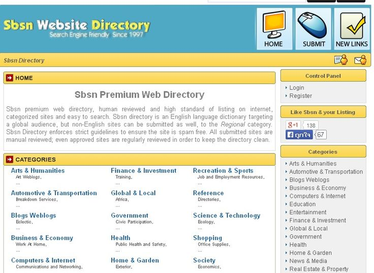 Sbsn premium web directory, human reviewed and high standard of listing on internet, categorized sites and easy to search. Sbsn directory is an English language dictionary targeting a global audience, but non-English sites can be submitted as well, to the Regional category. Sbsn Directory enforces strict guidelines to ensure the site is spam free. All submitted sites are manual reviewed; even approved sites are regularly reviewed in order to keep the directory clean.