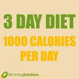 NEW 3 DAY DIET PLAN: cuts your intake down to 1000 calories per day. Full meal plan available on our blog now: http://wp.me/p2BSLY-1tL